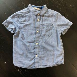 H&M Blue Plaid Short Sleeve Button Down Shirt